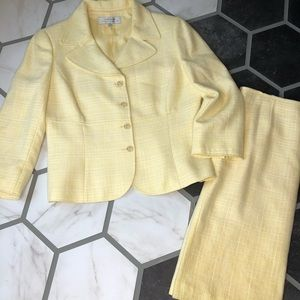 Tahari yellow tweed skirt suit set